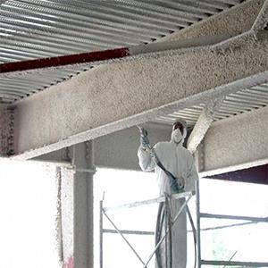 اجرای پوشش مقاوم در برابرحریق ساختمان فولادی